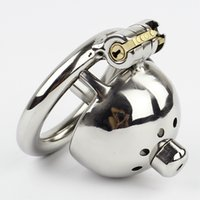 Wholesale Stainless Steel Adult Toys - New Super Small Male Chastity Device 35MM Adult Cock Cage With Urethral Catheter BDSM Sex Toys Stainless Steel Chastity Belt