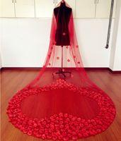 ingrosso tulle morbido di velo fiore-Lunghi veli da sposa rossi Morbidi tulle con fiori finti lunghi 3m Veli da sposa da favola Accessori da sposa lunghi economici