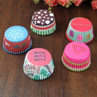 Wholesale Love Cupcake Wrappers - 500pcs lot Christmas Love Cupcake Papers Mini Muffin Cup Cake Wrapper Cupcake Liners High Temperature Greaseproof Baking Paper Cups