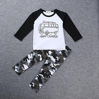 Wholesale Baby Clothes Car Cartoon - INS Boys Casual Clothes Baby cartoon car Tops Letters T-shirt+Geometric Camouflage pants 2pcs set cotton suit free shipping C1434