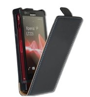 Wholesale Xperia P Lt22i Case - Luxury Black Flip Leather Case For Sony Xperia P Lt22i Cover PY