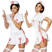 Wholesale Sexy Nurses Dress Uniform - Sexy Nurse Costumes Set Women Teddy Lingerie Sexy Hot Erotic Game Cosplay Nurse Uniform V-neck Babydoll Dress Sexy Underwear