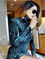Wholesale Xs Sexy Club Dresses - 2016 new high quality fashion women long sleeve dress velvet flower flocking embossed Bodycon dress party dress runway