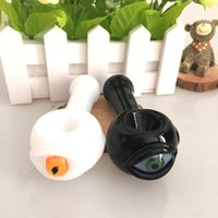 Wholesale Dichroic Glasses - newest design Heady glass pipe fumed glass smoking pipe white and black big eye of dichroic ink hand pipes spoon pipe