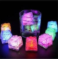 Wholesale Cube Lights Decoration - LED Ice Cubes Mini Romantic Luminous Cube LED Artificial Ice Cube Flash LED Light Wedding Christmas Decoration Party
