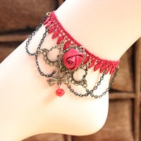 Lace ornaments online - Restore Ancient Ways Alcohol Gules Ka To Lace Anklet Woman Ball Wedding Foot Ornaments Online Retailers