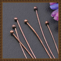 Wholesale Bronze Ball Head Pins - DIY jewelry accessories red bronze color brass ball head finding pin jewelry ending pin MP610007 50*1.5mm 1000pcs bag