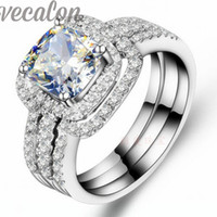 Wholesale White Gold Cushion Diamond Ring - Vecalon Fashion ring cushion cut 3ct Cz diamond 3-in-1 Wedding Band Ring Set for Women 10KT White Gold Filled Engagement ring
