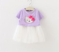 Wholesale Kitty Sale T Shirts - Childrens Pretty Korean Style Princess Outfit 2016 Hot Sale Girls Cartoon Kitty Fashion Set Short Sleeve T-shirt And Ball Gown Dress Set