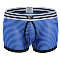 Wholesale Transparent Lace Boxer Shorts - Gauze Mens Boxers Striped Sexy Underwear Mesh Boy Shorts Male Low Waist Slim fit Trunks Men Sexy Transparent Boxer Underwear