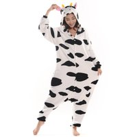 Wholesale xl adult animal women costumes for sale - Cow Unisex Adult Flannel Hooded Pajamas Adults Cosplay Cartoon Cute Animal Onesies Sleepwear For Men Women