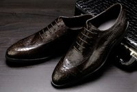 ingrosso buco di scarpe in pelle uomo-Scarpe di cuoio degli uomini di qualità di lusso cerata modello di coccodrillo pelle bovina breatheabel fori di perforazione lace-up scarpe a punta scarpe da buisness