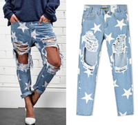 Wholesale New Star Jeans - 2016 New arrival Europe & United States Women's Clothing Loose star stamp hole baggy jeans Ms fashion personality denim Straight pants