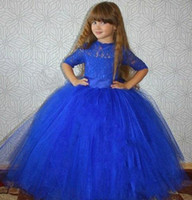 Wholesale Pageant Gowns For Sell - 2016 Hot Sell Pageant Dresses for Teens Lovely Sheer Lace Jewel Neck Half Sleeve Royal Blue Princess Girls Formal Dress Detachable Ball Gown