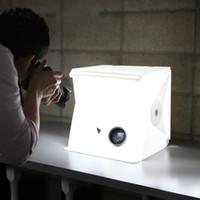 iluminación para la fotografía al por mayor-22.6 * 23 * 24 CM Mini Photo Studio Box Telón de fondo de fotografía portátil Luz incorporada Photo Box Little Items Fotografía de telón de fondo