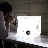 ingrosso oggetti in scatola-22.6 * 23 * 24CM Mini Photo Studio Box Portatile Fotografia Fondale incorporato Contenitore di foto di luce Oggetti piccoli Fotografia Sfondo