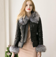 Wholesale Short Black Leather Coats Women - 2016 Autumn Winter Europe Fashion Women's PU Leather Jacket Faux Fur Collar Cuff Warm Coat Lady's Outwear Black Jackets Coats