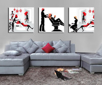 Wholesale Modern Wall Art Woman - Modern Painting Time Of Women Washing The Hair Giclee Print On Canvas Home Decor Wall Art Set30127