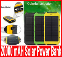 Wholesale Wholesale Solar Power Battery Charger - 20000mAh Solar Power Bank Charger Waterproof Solar Phone External Battery Dual USB Power Bank for Iphone Portable Charger with retail packag