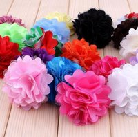 (200pcs / lot) 5cm 20 colori Infant fai da te in chiffon Mesh Flower neonato ragazza capelli Hairband mano Rosette fascia accessori T5033