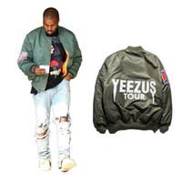bombardıman ceketi yeezus toptan satış-Eden Kanye West YEEZUS Ceketler Erkekler Coats MA1 Bombacı Ceket YEEZUS Tur Ceketler Suit Parkas Erkek Hip Hop Coats Streetwear