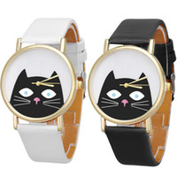Wholesale Cat Dress Womens - hot sell New Unique Womens Wrist Watch Unisex Cat Leather Analog Quartz Dial Dress Watch free shippment
