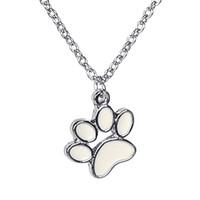 Wholesale Enamel Link Necklace - handmade Paw Print Necklace enamel Pet Puppy Dog Paw Pendant Bear Cat pet Lover Paw Necklaces Decoupage Animal pet Print Necklaces