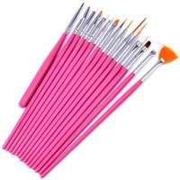 juegos de uñas para mujeres al por mayor-Nail Art Brush Set 15 unids / set pintura punteado Design White / Pink Pen mujeres polaco sistema de cepillo libre DHL Fedex UPS