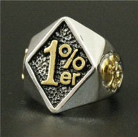 Wholesale Lucky Stainless Steel Ring - 2015 Gold & Sliver 1% Lucky Number 13 Biker Ring 316L Stainless Steel Men Boys Silver Cool Man Biker Ring