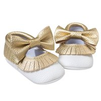 Wholesale Girls Mary Jane Shoes - Wholesale- Baby Girls Mary Jane Flower Baby Shoes PU Leather Baby Moccasins Gold Bow Girls First Walker Toddler Moccs