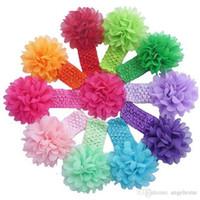 çiçek saç aksesuarları tığ işi toptan satış-Bebek Şapkalar Kafa Çiçek Saç Aksesuarları ile 4 inç Şifon çiçek yumuşak Elastik tığ bantlar sıkı saç bandı 16 renk