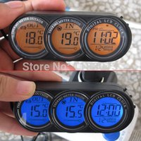 relógios de termómetro para carro venda por atacado-Inside Outside Car Termômetro Relógio Calendário Tela LCD Monitor de Voltagem Azul e Laranja Backlight Big Desconto Frete Grátis