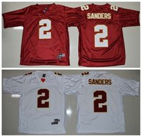 Wholesale Florida State Ncaa - Top Quality ! Cheap Deion Sanders Florida State Seminoles #2 Deion Sanders Jersey Red NCAA College football jerseys Mix Order !