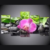orquídeas lona óleo pintura conjuntos venda por atacado-5 Pçs / set HD Impresso Orquídeas Rosa Cópia Da Lona de Impressão decoração da sala de impressão imagem do cartaz da lona pintura a óleo de frutas