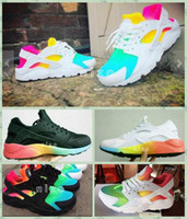 Wholesale Rainbow 45 - 2016 Air Cushion Huarache Running Shoes Huraches Colourful Shoes Trainers Men And Womens Huaraches Sneakers Hurache Rainbow Size 36-45