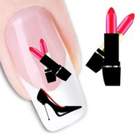 Wholesale Lip Stickers For Nails - Wholesale- Stylish 1Pcs DIY Red lips sticker for women Water Transfer Stickers Finger for Nail Art Learner beauty Tools