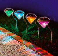 Wholesale wholesale diamonds yard - Solar outdoor RGB Diamond lights for garden lawn lights stainless steel waterproof LED solar christmas lights for yard decoration 4pcs lot