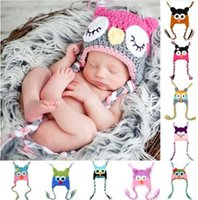 Wholesale New Crochet Baby Owl Hat - New Cute Baby Hat Winter Crochet Custom Handmade Knitted Infant Toddler Baby Hat Owl Newborn Photography Props