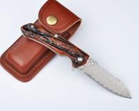 Wholesale High End Damascus Steel Knives - High End VOLTRON V04 Knife Damascus Blade Animal Bone Hanlde DIY EDC Pocket Hunting Knives With Leather Sheath F493E