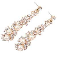 Wholesale Evening Jewelery - Fashion Summer style Women Evening Fine Jewelery Brincos Full Crystal Pearls Gold Filled Long Drop Earrings For Women