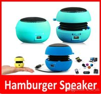 Wholesale Mini Speakers For Iphone Hamburger - Portable pocket Mini Hamburger Speaker Subwoofers for iPhone iPad iPod Laptop PC MP3 Audio Amplifier Wholesale