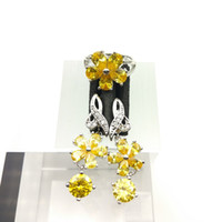 Gold Yellow Gems Flower Style Topaz Jewelry Sets para mujeres Sterling Silver 925 Drop Earrings / Ring Sizes 7/8/9 Free Jewelry Box B