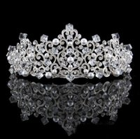 Wholesale Make Fairy Hair Accessories - High End Baroque Wedding Crowns Headpieces With Pearls Rhinestone 2018 Hand Made Jewelry Hair Tiaras Headbands Party Accessories Party