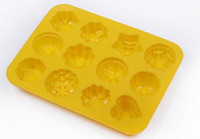 Wholesale Wholesale Muffin Pans - Flower shape Muffin case Candy Jelly Ice cake Silicone Mould Mold Baking Pan Tray Silicone Muffin Cases Cake Cupcake Nonstick Liner 2016