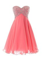 Vendita calda breve mini vestito da cocktail in chiffon Sweetheart senza maniche Lace-up Prom Dress Homecoming con cristalli paillettes