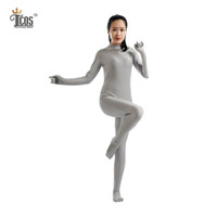 Wholesale Body Free Tights - Wholesale-(5 pieces lot) Zentai Gray Bodysuit Women Halloween Dancewear Turtleneck Unitard Second Skin Headless Full Body Tights Suit