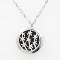 Wholesale Perfume Belt - 5PCS Silver Flower Belt Magnetic Perfume Locket Necklace Pendant 30MM Diffuser Stainless Steel Necklace Pendant With Pads Chain