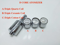 Wholesale Glass Wax Cartomizer - D-CORE Triple coils wax Quartz atomizer Ceramic Cotton rob wax Coil vaporizer wax cartomizer Dual Coil Skillet Globe Glass Cannon