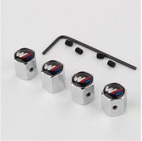 Wholesale Bmw Wheel Valve Caps - Free Shipping Theftproof Stainless Steel 4PCS Car Wheel Tire Valves Tyre Stem Air Caps Airtight Cover For BMW modifications-m