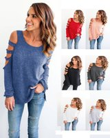 Wholesale Wholesale Cold Cuts - Europe Candy T Shirt Women Long Sleeve Cold Shoulder Tops Autumn Loose Tees Sexy Ladies Round Neck Cut Out T-shirt